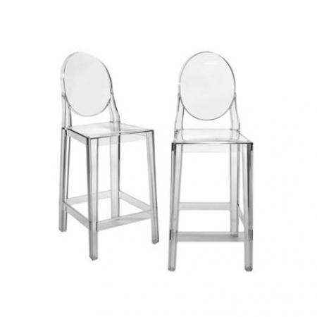 Set 2 barových židlí One More transparentní čirá, Kartell