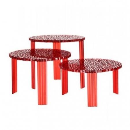 Konferenční stolek T-TABLE transparentní červená, Kartell