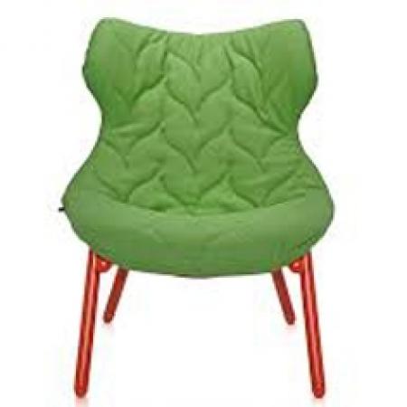 Křeslo Foliage zelené (100% polyester Trivira), Kartell