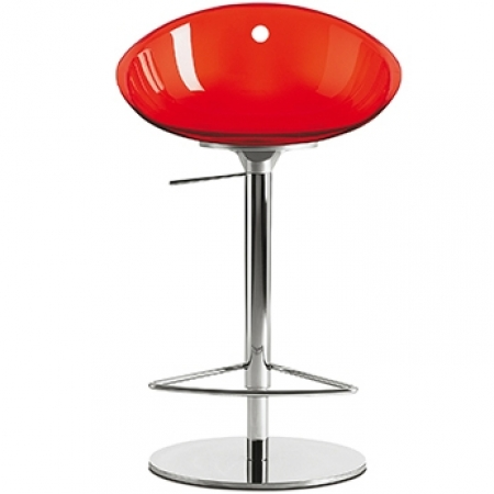 Sada 2 barových židlí Gliss 970 transparentní červená, Pedrali
