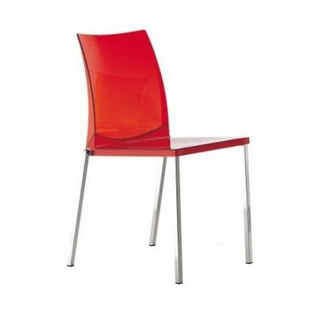 Sada 4 židlí Kuadra 1271 transparentní červená, Pedrali