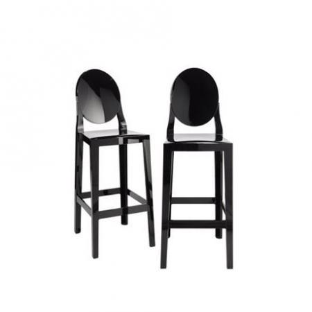 Set 2 barových židlí One More černá, Kartell