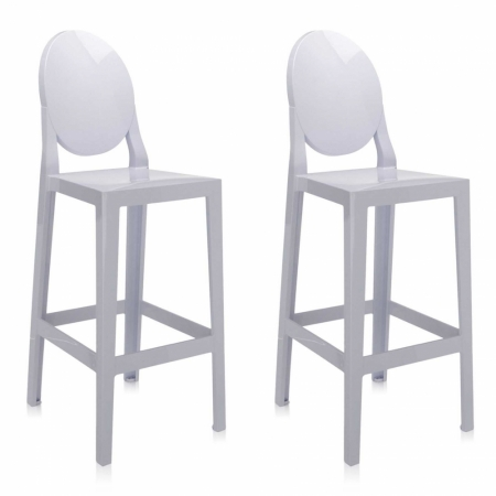 Set 2 barových židlí One More bílá, Kartell