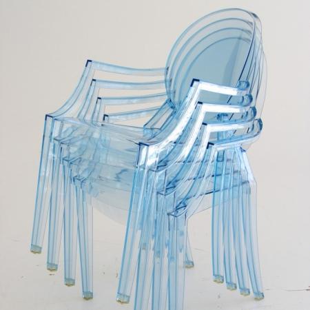 Set 4 dětských židlí Lou Lou Ghost transparentní světle modrá, Kartell
