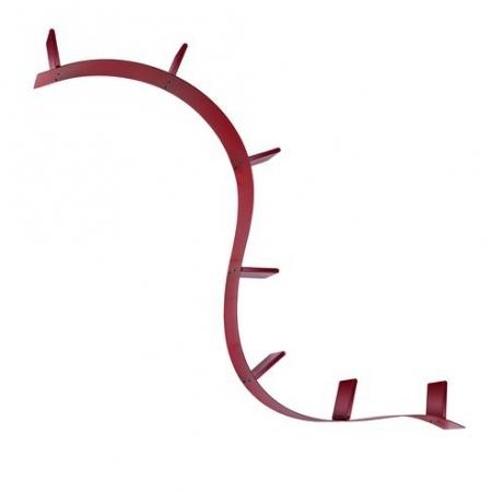 Závěsná police Bookworm červená, Kartell